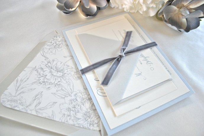 Dusty Blue, Grey Wedding Invitation, Slate grey, Gray, Navy Blue, Dusty Blue
