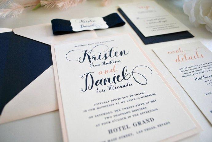 Navy Blue and Blush Wedding Invitation, Midnight Blue, Pink, Gold-Modern Script