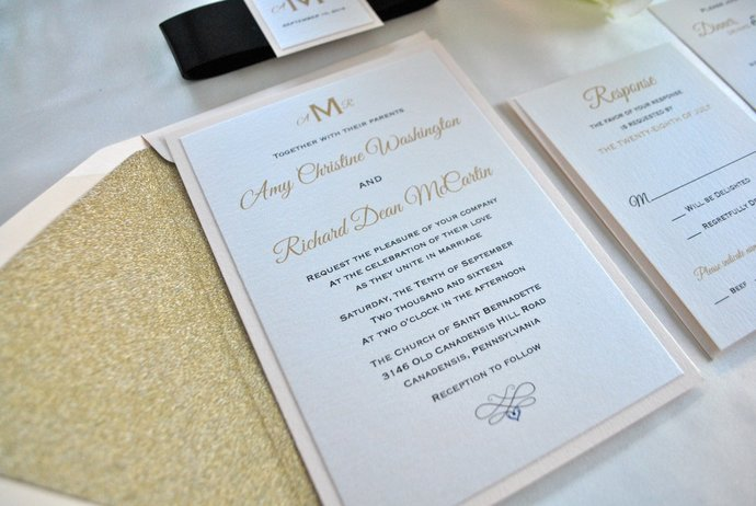 Blush Gold Glitter Wedding Invitation, Glitter Envelope liner, Champagne wedding