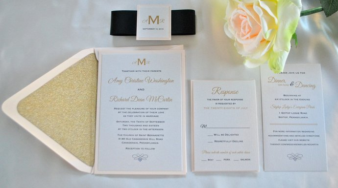 Blush Gold Glitter Wedding Invitation, Glitter Envelope liner, Champagne wedding