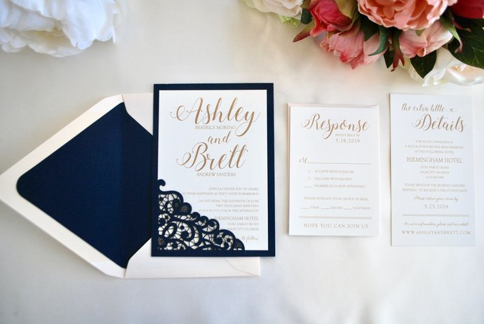 Navy Blue, Blush, Gold Wedding Invitation- Lace Laser Cut Romance
