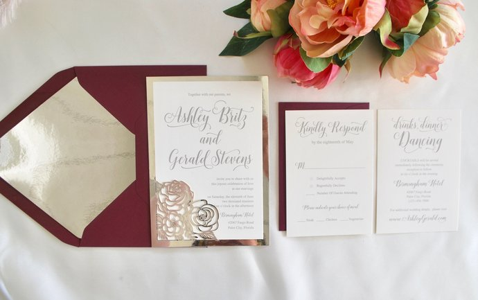Burgundy Silver Foil Laser Wedding Invitation Floral Laser Cut Script, Gold,