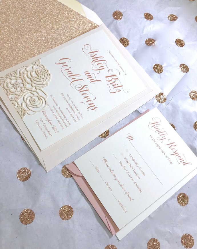 Dusty Rose, Rose Gold Laser Cut Wedding Invitation, Floral, Lasercut invite,