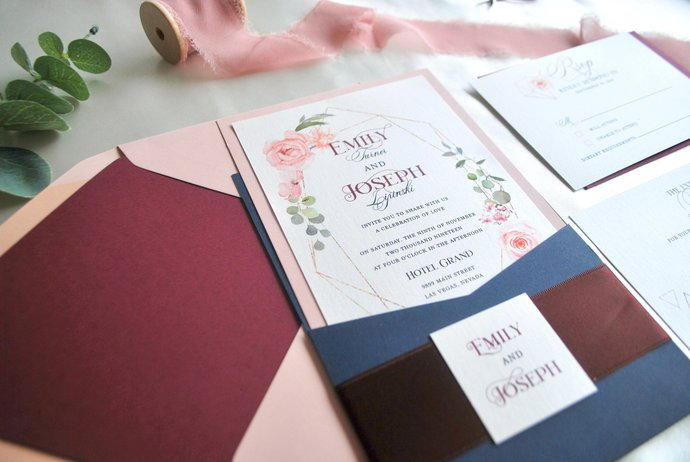Navy Blue, Dusty Rose Pocket Wedding Invitation, Watercolor Florals, Geometric
