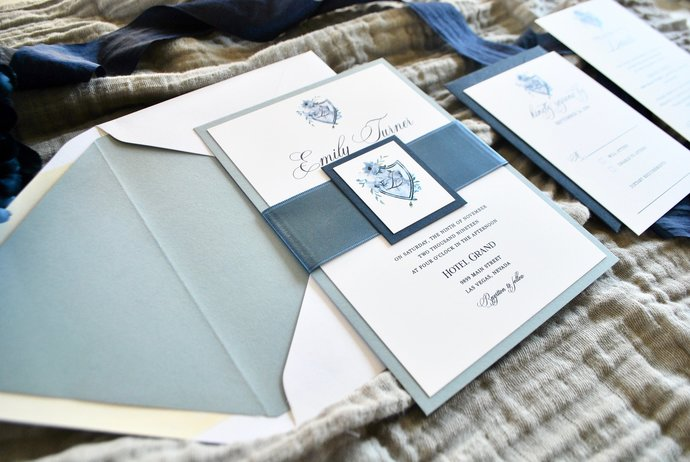 Dusty Blue Wedding Invitation, Slate grey, Gray, Navy Blue Invite, Dusty Blue