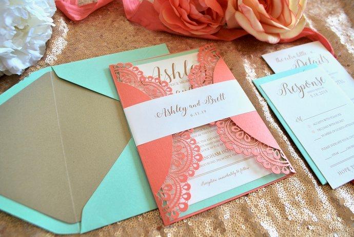 Coral mint Laser Cut Wedding Invitation, Gate Fold Lasercut Invite, Lace Wedding