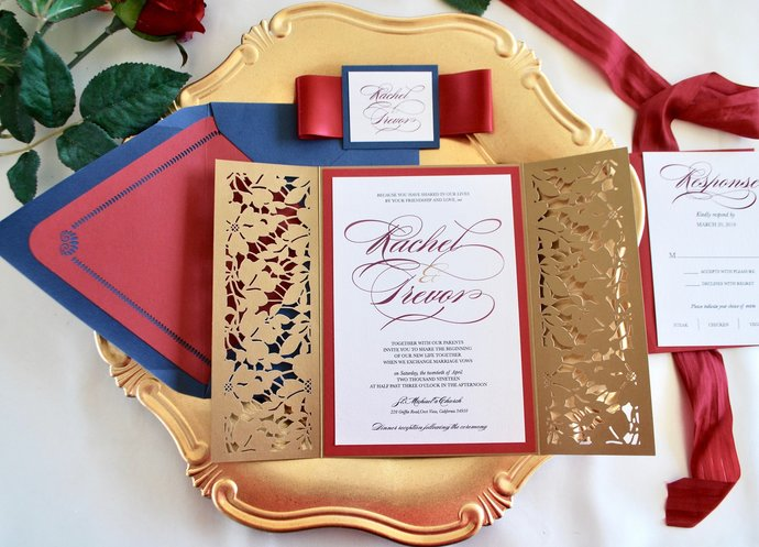 Gold Laser Cut Wedding Invitation Marsala Floral Gate Fold Lasercut Burgundy Navy Blue Beauty And The Beast Custom Color Wording