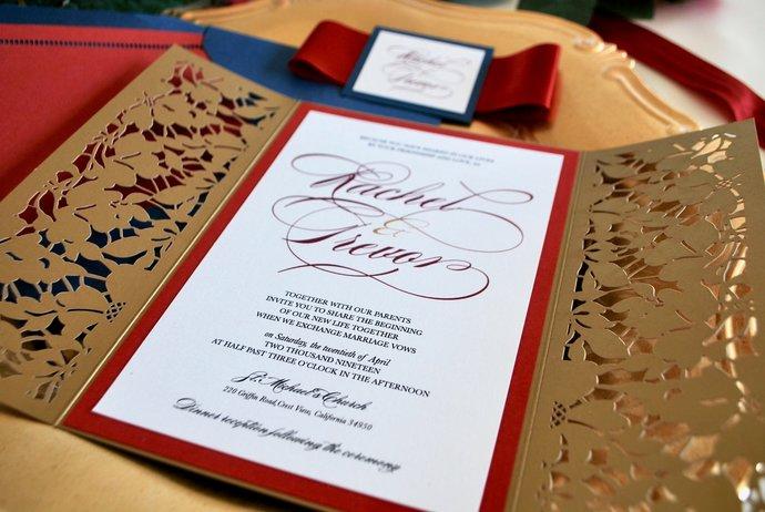 Gold Laser Cut Wedding Invitation, Marsala Floral Gate Fold Lasercut, Burgundy
