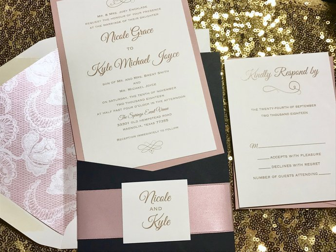 Dusty Rose Pocket Wedding Invitation, Navy Blue Dusty Rose, Pocket invitation,