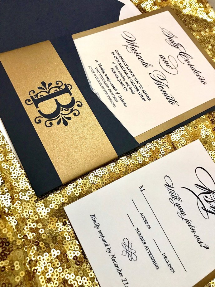 Gold Wedding Invitations.Navy Blue Gold Wedding Invitation Pocket Wedding Invitation Laser Cut Classic Antique Gold Glitter Rose Gold Custom Colors Wording