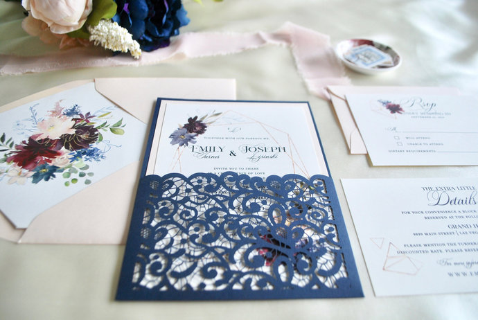 Blush Navy Blue Laser Cut wedding Invitation, Burgundy Floral Geometric Frame