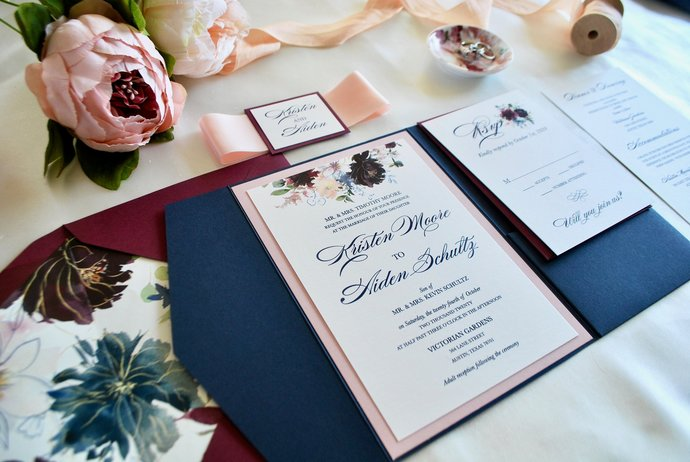 Navy Blue Burgundy Pocket Wedding Invitation, Marsala Florals, Burgundy Floral,