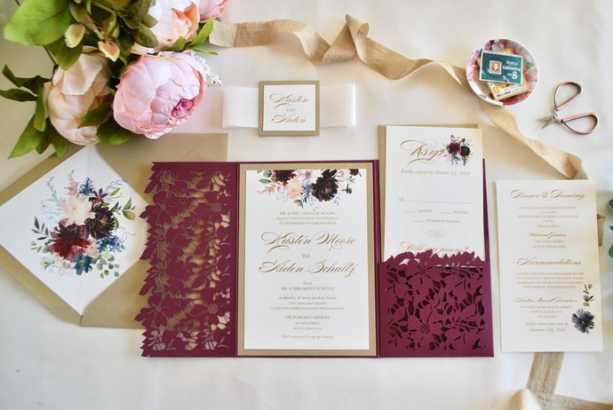 Burgundy Laser Cut Pocket Wedding Invitation, Burgundy Floral Invitation,