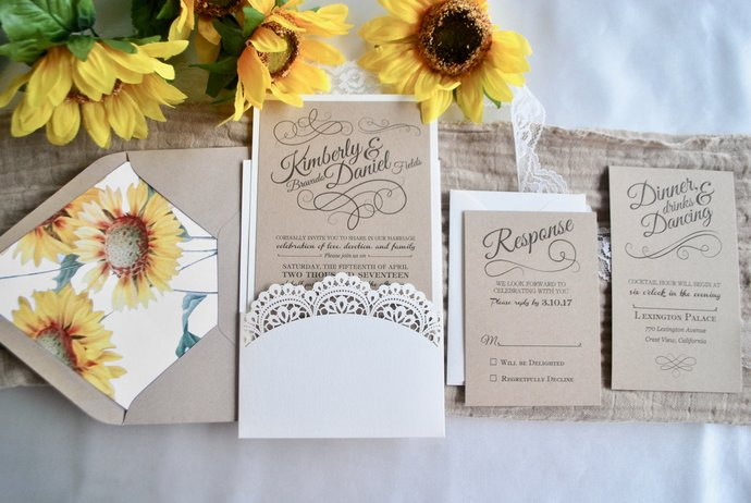 Sunflower Laser Cut Pocket Wedding Invitation -Lace Doily invite, Lace,