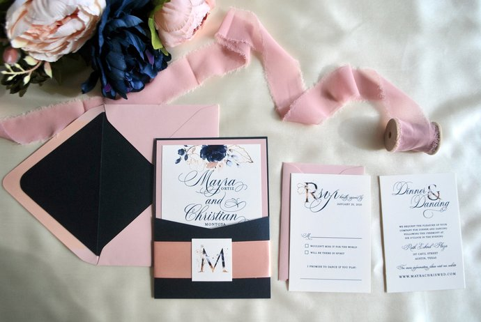 Navy Blue, Dusty Rose Pocket Wedding Invitation -Watercolor Florals, Pocket