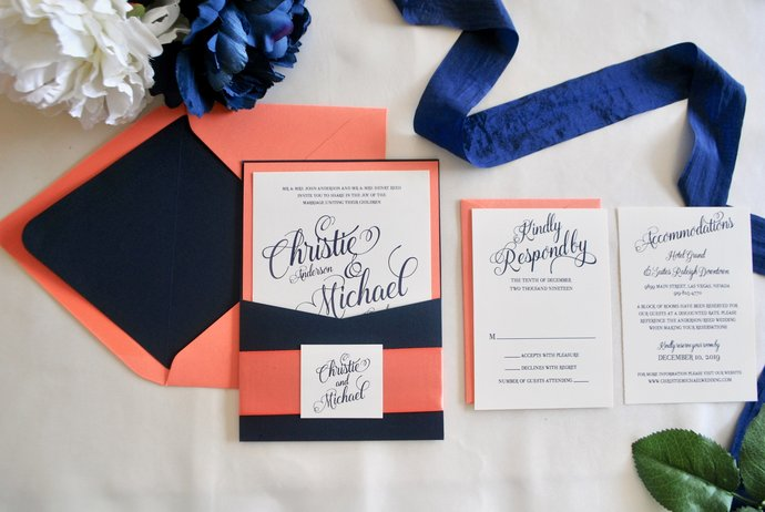 Navy Blue Coral Pocket Wedding Invitation, Simply Glamorous, Pocket invitation,