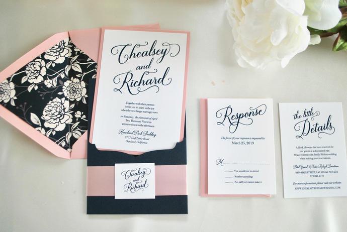 Navy Blue, Pink Wedding Invitation Laser Cut Pocket- Pretty Pink  Color/wording