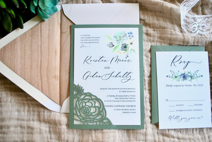 Greenery Rustic Wedding Invitation, Laser Cut Wedding Invitation, Botanical,