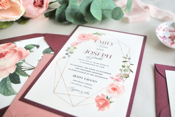Dusty Rose Burgundy Laser Cut Wedding invitation, Floral lasercut Pocket Wedding