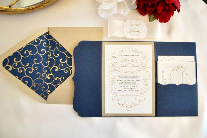 Navy and Gold Laser Cut Pocket Wedding Invitation-Scrolls-