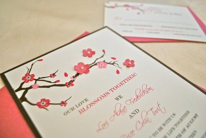 3D Cherry Blossom Wedding Invitation