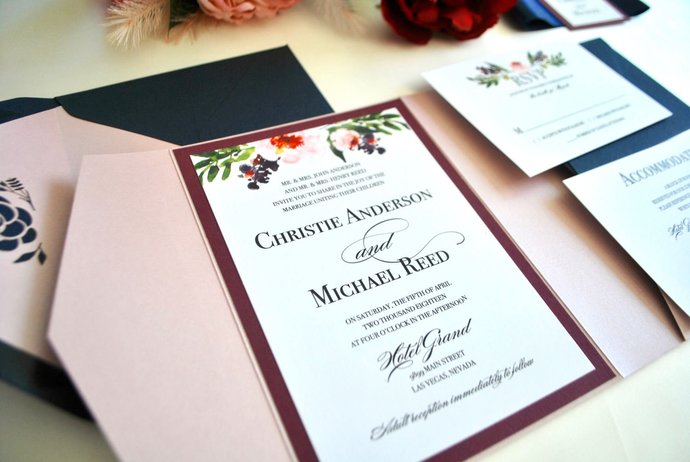 Dusty Rose Navy Blue Pocket Wedding Invitation, Marsala, Watercolor Floral