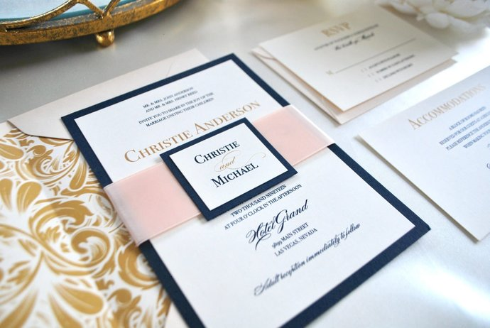 Navy Blue Gold Wedding Invitations By Out The Box Creative On Zibbet