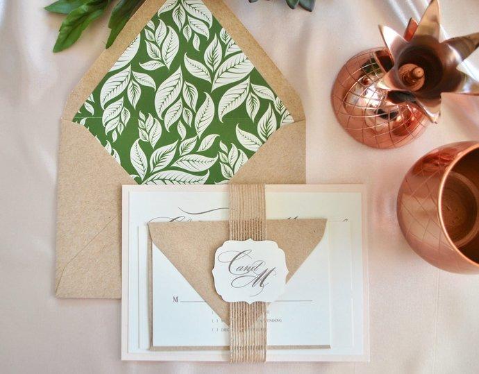 Kraft, Blush, Burlap Wedding Invitation-Bohemian Green Leaves- Navy, Pink (not a