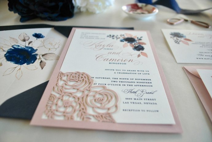 Dusty Rose, Navy Blue Laser Cut Wedding Invitation- Navy Floral Laser Cut