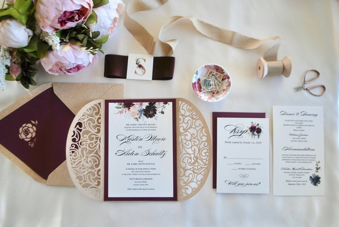 Burgundy Kraft Laser Cut Wedding Invitation, Floral Gate Fold Lasercut Invite,