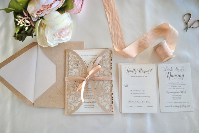 Blush Laser Cut Wedding Invitation, Blush Gate Fold Lasercut Invite, Kraft