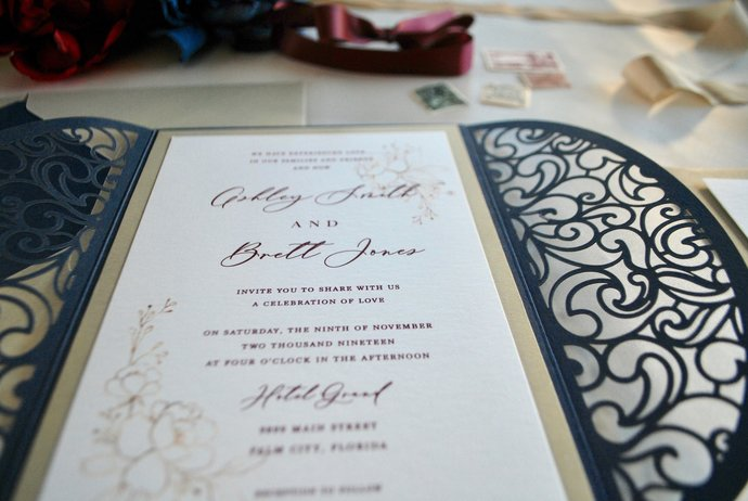 Navy Blue  Laser Cut Wedding Invitation, Navy Gold Burgundy Wedding Invitation