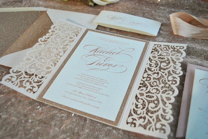 Rose Gold Blush Laser Cut Wedding By Out The Box Creative On Zibbet