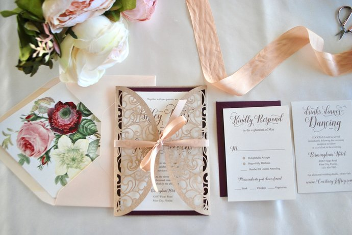 Laser Cut Wedding Invitation, Marsala Floral Gate Fold Lasercut Invite, Blush