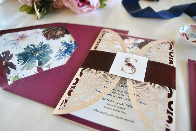 Laser Cut Wedding Invitation, Burgundy Floral Gate Fold Lasercut Invite, Marsala