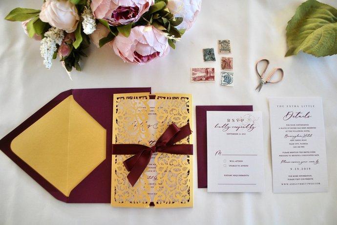 Gold, Burgundy Laser Cut Wedding Invitation, Lace Gate Fold Lasercut Invite,