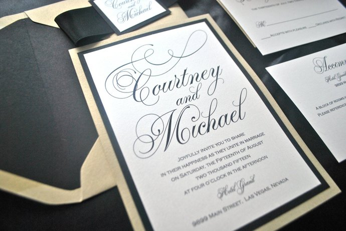 Black And Gold Wedding Invitation By Out The Box Creative On Zibbet