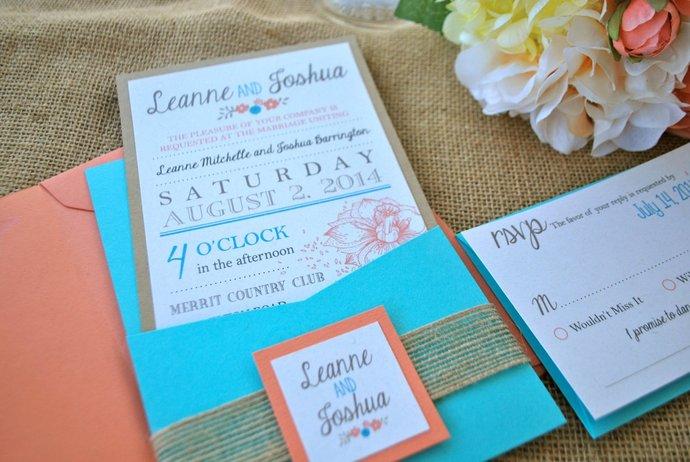 Coral, Turquoise Blue, Modern Rustic Pocket Wedding Invitation -