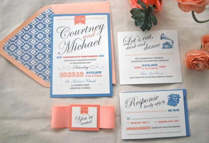 Coral, Peach and Dusty Blue Wedding Invitation- Retro, Modern Navy, Blush,