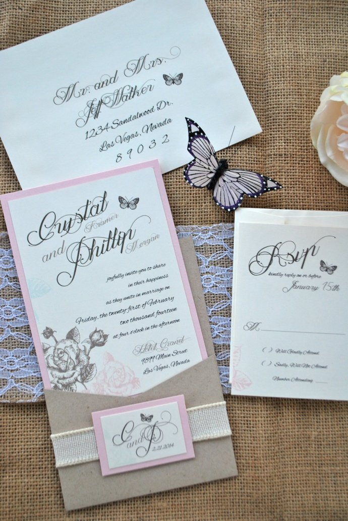 Pink, Kraft, burlap Shabby Chic Wedding Invitation Florals-Romantic