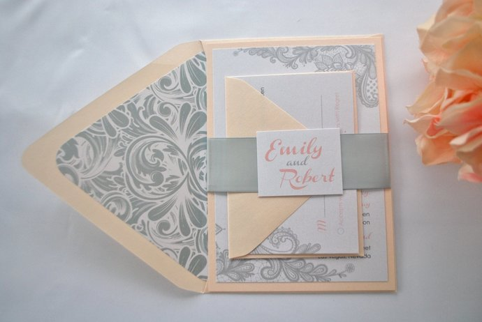 Blush and White Lace Wedding Invitation  Colors/wording/materials Customizable-