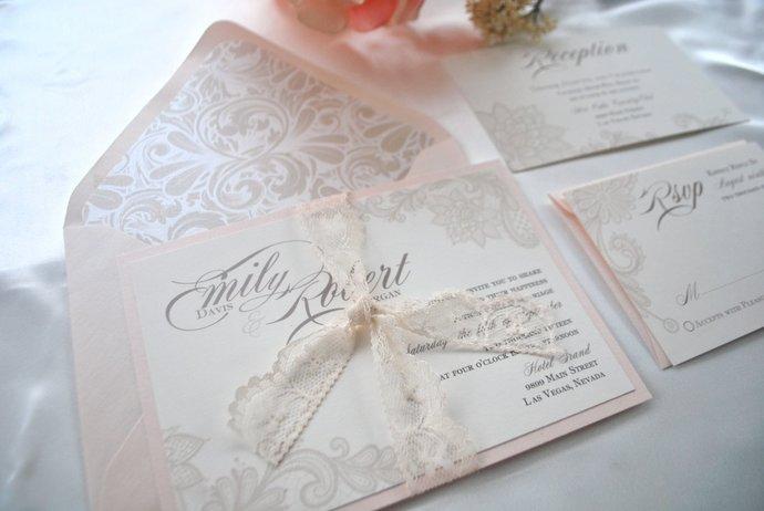 Ivory, Blush Lace Wedding Invitation, Lovely, Champagne, Gold Wedding