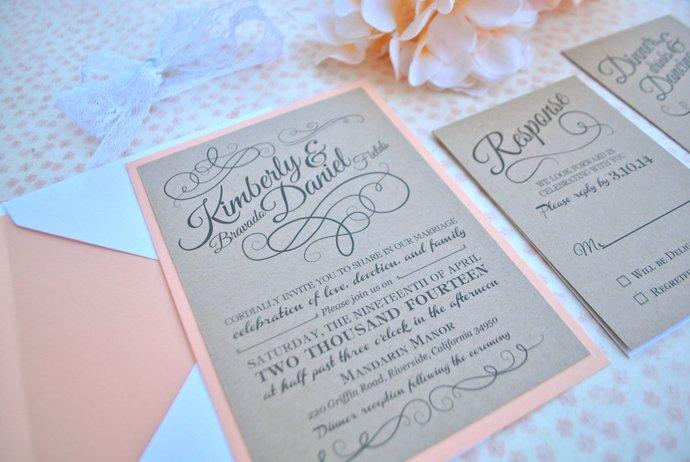 white, lace, Peach, and kraft Wedding Invitation- Romantic Rustic