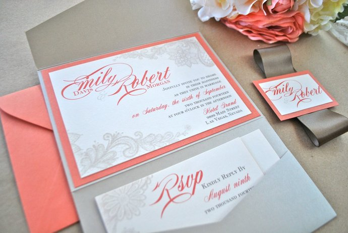 Coral Champagne Lace Wedding Invitation, Lace Pocket Invitation, Rust orange,