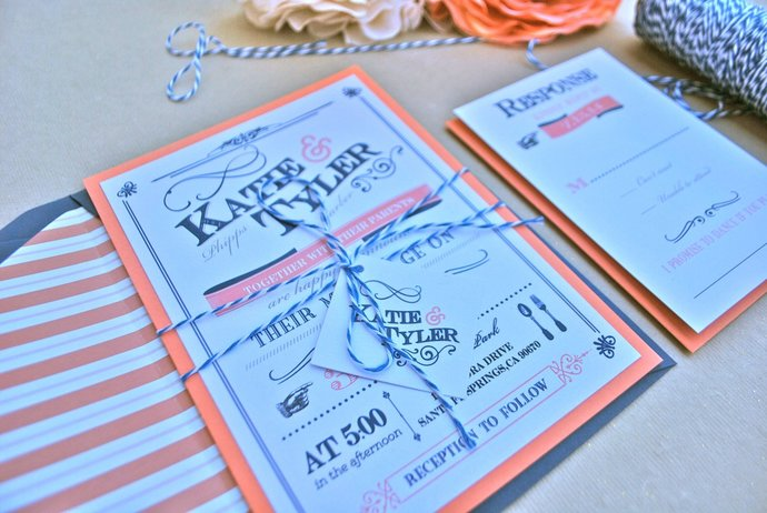 Rustic, modern, chic, Navy and Coral Wedding Invitation