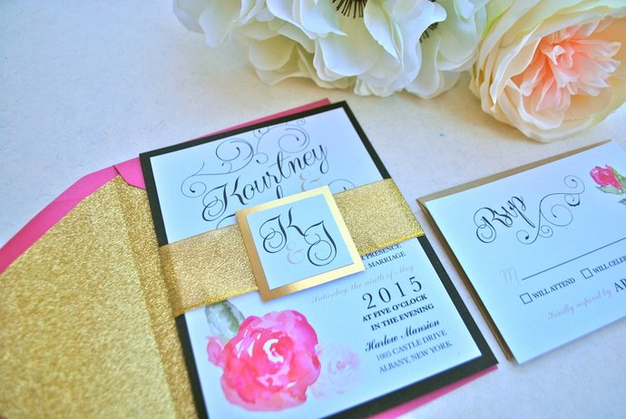 Pink, glitter gold, black and white Floral Wedding Invitation-Romantic