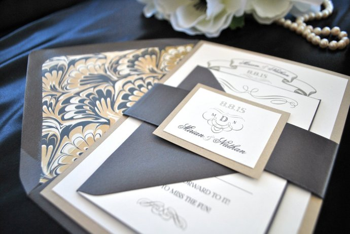 Art Deco Charcoal, Grey, Gold wedding Invitation Gold Foil, Silver, Great