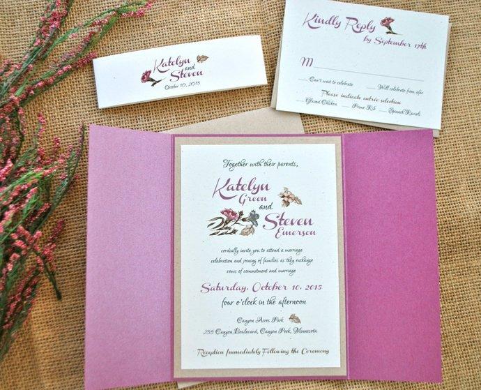 Purple burgundy Watercolor floral Wedding Invitation, Plum, Amethyst, Kraft,