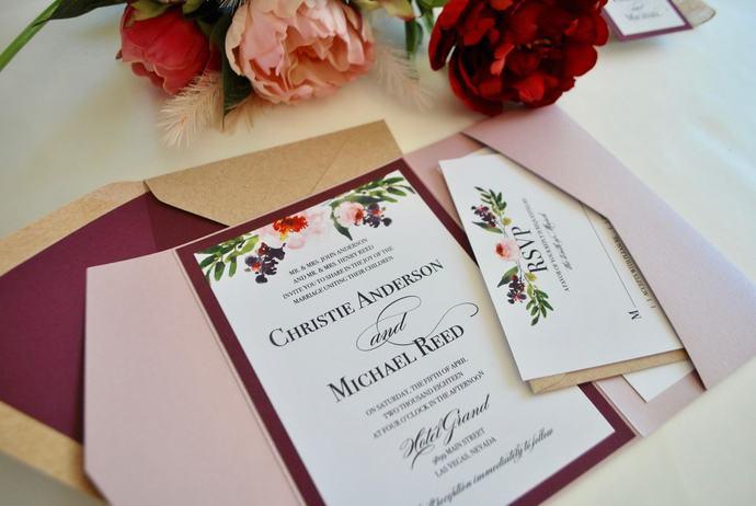 Marsala Pocket Wedding invitation, Kraft Watercolor Floral wedding Invitation,