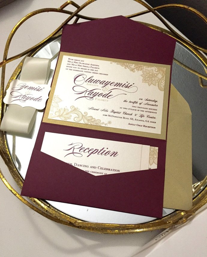 Gold, Burgundy Pocket Wedding Invitation, Marsala Lace Pocket Invite, Blush,